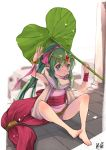 1girl artist_name barefoot bracelet chiki commentary_request dated dress feet fire_emblem fire_emblem:_monshou_no_nazo full_body green_eyes green_hair hair_ribbon holding holding_umbrella jewelry kero_sweet leaf_umbrella long_hair mamkute parted_lips pink_dress ponytail ribbon short_dress sitting solo tiara umbrella