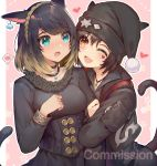 2girls :d akizone animal_ear_request animal_ears arm_grab bangs black_choker black_hair black_headwear blonde_hair blue_eyes blush breasts character_request choker collarbone commentary commission earrings english_commentary final_fantasy final_fantasy_xiv freckles hair_between_eyes hairband hat heart jacket jewelry large_breasts long_sleeves looking_at_another miqo'te multicolored_hair multiple_girls necklace one_eye_closed open_mouth red_heart short_hair smile spoken_blush tail two-tone_hair