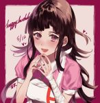 1girl absurdres apron bandaged_arm bandages black_hair blush breasts commentary_request danganronpa dated fingers_together frame happy_birthday heart highres kureha221 large_breasts long_hair looking_at_viewer messy_hair mole mole_under_eye nurse pink_shirt puffy_short_sleeves puffy_sleeves shirt short_sleeves sidelocks signature smile solo super_danganronpa_2 tsumiki_mikan violet_eyes white_apron