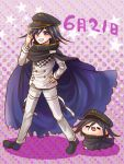 1boy black_cape black_footwear black_hair black_headwear cape character_doll danganronpa eyebrows_visible_through_hair full_body hair_between_eyes hand_on_hip hat index_finger_raised jacket long_sleeves looking_at_viewer male_focus new_danganronpa_v3 ouma_kokichi pants peaked_cap purple_background solo thigh_strap violet_eyes white_jacket white_pants yumaru_(marumarumaru)