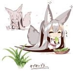 1girl :d :t ? absurdly_long_hair absurdres animal_ear_fluff animal_ears bangs barefoot blush bowl chibi closed_eyes closed_mouth commentary_request eating eyebrows_visible_through_hair fox_ears fox_girl fox_tail hair_between_eyes highres holding japanese_clothes kimono long_hair long_sleeves multiple_views open_mouth petals silver_hair smile tail translation_request very_long_hair wavy_mouth white_background white_kimono wide_sleeves yuuji_(yukimimi) ||_||