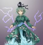 1girl breasts commentary_request dress fuwatoro_(enemy-of-society) ghost_tail gradient gradient_background green_dress green_eyes green_hair grey_background hat highres lightning long_sleeves looking_at_viewer short_hair sleeve_ribbon smile soga_no_tojiko solo tate_eboshi touhou