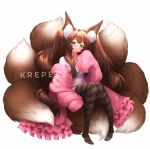 1girl animal_ear_fluff animal_ears black_legwear blush brown_hair cardigan closed_eyes collarbone commentary english_commentary fluffy fox_ears fox_girl fox_tail frills green_eyes highres krepexz large_tail long_hair looking_at_viewer multiple_tails open_cardigan open_clothes original oversized_clothes pink_cardigan plushmallow shirt simple_background sitting sitting_on_tail sleeves_past_fingers sleeves_past_wrists smile solo striped striped_legwear tail thigh-highs twintails watermark white_background white_shirt