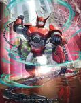 ball_and_chain cardfight!!_vanguard clenched_hand commentary_request company_name dai-xt mecha motion_blur official_art reflection robot spiked_ball standing standing_on_liquid
