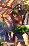 1boy 1girl :o ahiru ahoge blue_eyes blush braid brown_footwear brown_pants bug butterfly clouds collarbone commentary_request couple double_scoop dress eye_contact fakir food frilled_dress frills green_hair hand_on_another's_face hetero holding holding_food ice_cream ice_cream_cone insect jacket kaze-hime ladybug lens_flare long_sleeves looking_at_another low_ponytail orange_hair outdoors pants pantyhose parfait pink_footwear plant ponytail potted_plant princess_tutu see-through see-through_sleeves shelf shoes sitting stone_wall vines wall white_dress white_legwear yellow_eyes