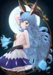 1girl arm_up bangs bare_shoulders black_gloves blue_hair blush breasts brown_eyes brown_legwear closed_mouth commentary_request cowboy_shot dress elbow_gloves erune eyebrows_visible_through_hair ferry_(granblue_fantasy) frilled_dress frilled_gloves frills full_moon gloves granblue_fantasy hair_between_eyes highres holding holding_whip looking_at_viewer looking_to_the_side moon pleated_dress revision sideboob small_breasts smile solo thigh-highs uneg wavy_hair whip white_dress