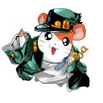 animal chain coat commentary_request cosplay crossover hamster hamtaro hamtaro_(hamtaro) happy hat jojo_no_kimyou_na_bouken kuujou_joutarou kuujou_joutarou_(cosplay) looking_at_viewer no_humans open_mouth oversized_clothes pun simple_background smile toluda white_background