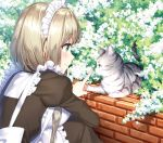 1girl animal apron blonde_hair blush breasts brick_wall brown_dress bush cat closed_mouth commentary_request day dress foliage frilled_apron frilled_dress frills from_side green_eyes index_finger_raised juliet_sleeves long_sleeves looking_at_animal looking_away maid maid_headdress masuishi_kinoto medium_breasts original outdoors profile puffy_sleeves shiny shiny_hair short_hair smile solo squatting tareme whiskers white_apron