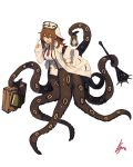 1girl anchor_symbol armband bangs clipboard commentary_request hat highres lamp lansane long_sleeves mace monster_girl necktie nurse_cap original red_neckwear scylla signature simple_background solo suitcase tentacles weapon white_background