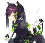 1girl absurdres animal_ear_fluff animal_ears arrow asymmetrical_hair bangs black_gloves black_sailor_collar black_skirt black_vest bow_(weapon) commentary_request eyebrows_visible_through_hair fingerless_gloves gloves green_neckwear grey_shirt hair_between_eyes hair_ornament hairclip highres holding holding_bow_(weapon) holding_weapon leaning_forward long_hair looking_at_viewer mayogii original pleated_skirt purple_hair red_eyes sailor_collar shirt short_sleeves simple_background skirt solo tail twintails uneven_twintails vest weapon white_background