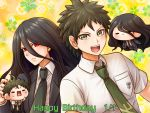 2boys :d black_hair black_jacket brown_hair character_doll collared_shirt danganronpa eyebrows_visible_through_hair green_eyes green_neckwear hair_between_eyes happy_birthday hinata_hajime jacket kamukura_izuru long_hair looking_at_viewer male_focus multiple_boys necktie open_clothes open_jacket open_mouth red_eyes school_uniform shirt short_sleeves smile spiky_hair super_danganronpa_2 upper_body very_long_hair white_shirt wing_collar yumaru_(marumarumaru)