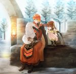 1boy 1girl breastplate bridal_gauntlets brother_and_sister brown_eyes brown_hair cape cat closed_mouth dress dyute_(fire_emblem) fire_emblem fire_emblem_echoes:_mou_hitori_no_eiyuuou futabaaf highres holding holding_cat long_hair long_sleeves luthier_(fire_emblem) orange_hair ponytail robe short_dress siblings sitting smile squatting tree