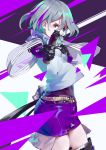 1girl aamond aiming_at_viewer aqua_eyes bangs black_gloves breasts from_side girls_frontline gloves grey_hair grey_shirt gun hand_on_own_chest handgun holding holding_gun holding_weapon looking_at_viewer multicolored_hair navel purple_hair purple_shorts shirt short_hair shorts solo streaked_hair thompson/center_contender thompson/center_contender_(girls_frontline) weapon