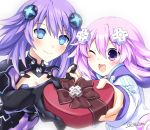 2girls blue_eyes box braid breasts commentary d-pad d-pad_hair_ornament dual_persona fingers_together hair_ornament happy_valentine heart-shaped_box highres imo_soba long_hair looking_at_viewer multiple_girls neptune_(neptune_series) neptune_(series) open_mouth purple_hair purple_heart short_hair smile symbol-shaped_pupils twin_braids twitter_username very_long_hair violet_eyes