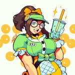 1girl ;) alternate_costume alternate_hairstyle apron breasts brown_eyes brown_hair bubble_tea commentary cup disposable_cup drinking_straw english_commentary glasses gloves honeydew_mei large_breasts mei_(overwatch) name_tag one_eye_closed open_mouth overwatch ponytail puffy_short_sleeves puffy_sleeves robert_porter round_eyewear short_sleeves sidelocks signature smile solo uniform visor_cap waist_apron white_gloves