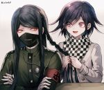2boys artist_name bandaged_hands bandages black_hair braid braiding_hair checkered checkered_scarf commentary_request covered_mouth danganronpa eyebrows_visible_through_hair face_mask gakuran hairdressing jacket long_hair long_sleeves looking_at_another male_focus mask medium_hair multiple_boys new_danganronpa_v3 ouma_kokichi purple_hair scarf school_uniform shinguuji_korekiyo simple_background straitjacket uniform violet_eyes white_background white_jacket yellow_eyes z-epto_(chat-noir86)