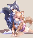 2girls animal_ear_fluff animal_ears biting blue_eyes blush boy_(pixiv17542438) breast_grab breasts brown_hair fang fur_collar grabbing gradient gradient_legwear grey_wolf_(kemono_friends) heterochromia highres japanese_wolf_(kemono_friends) kemono_friends large_breasts long_hair looking_at_another looking_at_viewer looking_down looking_up multicolored multicolored_clothes multicolored_hair multicolored_legwear multiple_girls nibbling open_mouth pantyhose skirt smile tail two-tone_hair white_hair wolf_ears wolf_girl wolf_tail yellow_eyes