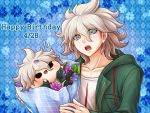 1boy bag blue_eyes character_doll coat collarbone danganronpa eyebrows_visible_through_hair green_coat hair_between_eyes happy_birthday holding holding_bag hood hood_down hooded_coat komaeda_nagito male_focus open_clothes open_coat open_mouth paper_bag shirt silver_hair solo super_danganronpa_2 upper_body white_shirt yumaru_(marumarumaru)