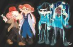 3d_rod! 4girls aori_(splatoon) boots bow bowtie closed_eyes commentary cosplay dark_skin doctor_who eleventh_doctor eleventh_doctor_(cosplay) fang fez_hat glowing highres hime_(splatoon) hood hooded_jacket hotaru_(splatoon) iida_(splatoon) jacket looking_at_viewer mole mole_under_eye mole_under_mouth multiple_girls open_mouth short_hair smile sonic_screwdriver splatoon_(series) splatoon_2 standing star_trek suspenders symbol-shaped_pupils tentacle_hair the_doctor thirteenth_doctor thirteenth_doctor_(cosplay) uniform yellow_eyes