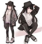 1girl absurdres arm_up black_footwear black_hair black_headwear black_jacket black_legwear black_pants breasts earrings fedora full_body hair_ornament hairclip hand_on_headwear hat highres ibuki_(ibuki0118) jacket jewelry key lock long_hair long_sleeves looking_at_viewer looking_away miniskirt mouth_hold multicolored_hair multiple_views necklace off_shoulder open_clothes open_jacket original padlock pants pants_under_skirt pink_eyes purple_skirt shirt shoes sidelocks simple_background skirt smile sneakers socks standing two-tone_hair white_background white_footwear white_hair white_shirt wing_collar