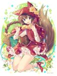 1girl :d absurdres animal_ears animal_hood bangs basket blue_eyes blush bobby_socks bow braid brown_hair capelet center_frills commentary_request eyebrows_visible_through_hair fake_animal_ears fang flower frills full_body hair_between_eyes hair_bow hand_up high_heels highres hood hood_down hooded_capelet ikari_(aor3507) long_hair long_sleeves open_mouth orange_flower original red_capelet red_footwear red_skirt ribbon shirt shoes single_braid skirt sleeves_past_wrists smile socks solo tail tail_raised twintails underbust very_long_hair white_flower white_legwear white_shirt yellow_bow yellow_ribbon