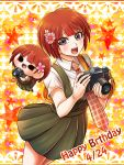 1girl :d camera collared_shirt danganronpa dress_shirt flower freckles grey_eyes hair_flower hair_ornament happy_birthday holding holding_camera koizumi_mahiru looking_at_viewer miniskirt open_mouth plaid_neckwear pleated_skirt red_skirt redhead shirt short_hair short_sleeves skirt smile solo star super_danganronpa_2 white_shirt wing_collar yumaru_(marumarumaru)