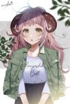 1girl :o black_skirt blush brown_eyes buttons clothes_writing collarbone commentary_request curled_horns cursive green_jacket highres iriam jacket jacket_on_shoulders long_hair long_sleeves looking_at_viewer myusha open_clothes open_jacket parted_lips pink_hair pointy_ears rouyashiki_bell shirt shirt_tucked_in sidelocks signature skirt solo standing upper_body virtual_youtuber white_shirt wing_collar