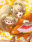 1girl :d blonde_hair bow character_doll dancing danganronpa fan floating_hair floral_print green_bow hair_bow hair_ornament happy_birthday holding holding_fan japanese_clothes kimono long_hair long_sleeves looking_at_viewer open_mouth orange_kimono outstretched_arms print_kimono saionji_hiyoko smile solo super_danganronpa_2 very_long_hair wide_sleeves yellow_footwear yumaru_(marumarumaru)