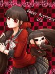 1girl bangs blunt_bangs bow bracelet brown_hair character_doll checkered checkered_background collarbone danganronpa eyebrows_visible_through_hair floating_hair grey_sailor_collar grey_skirt hair_ornament hair_over_shoulder hair_scrunchie happy_birthday harukawa_maki jewelry long_hair long_sleeves miniskirt mole mole_under_eye new_danganronpa_v3 plaid plaid_skirt pleated_skirt print_bow red_eyes red_scrunchie red_shirt sailor_collar school_uniform scrunchie shiny shiny_hair shirt skirt solo star star_print very_long_hair white_bow yumaru_(marumarumaru)