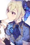 1girl black_eyes black_gloves blonde_hair blue_neckwear blue_shirt earrings finger_to_mouth fingerless_gloves gloves hair_between_eyes idolmaster idolmaster_cinderella_girls idolmaster_cinderella_girls_starlight_stage inzup jewelry parted_lips shiomi_shuuko shirt short_hair short_sleeves simple_background solo striped striped_shirt upper_body vertical-striped_shirt vertical_stripes white_background