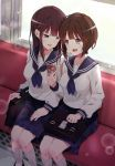 2girls :d bag blue_skirt blush bookbag brown_hair earphones glint hair_ornament highres koromo_take long_sleeves looking_at_another multiple_girls open_mouth original school_uniform serafuku shared_earphones shirt short_hair sitting skirt smile socks train_interior white_legwear white_shirt window x_hair_ornament yuri