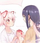 3girls :d akemi_homura bags_under_eyes braiding_hair closed_mouth dual_persona earrings eyebrows_visible_through_hair gift gloves hair_ribbon hairband hairdressing hands_up happy_birthday heart highres holding holding_gift jewelry kaname_madoka long_hair looking_at_another mahou_shoujo_madoka_magica mahou_shoujo_madoka_magica_movie multiple_girls notori_d open_mouth pink_eyes pink_gloves pink_hair profile purple_hair purple_hairband red_ribbon ribbon short_hair short_twintails smile twintails
