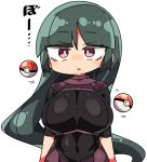 1girl blush breasts commentary_request green_hair gym_leader kanikama large_breasts long_hair looking_at_viewer lowres natsume_(pokemon) poke_ball pokemon pokemon_(game) pokemon_lgpe red_eyes simple_background solo white_background