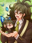 1boy :d blue_butterfly brown_jacket collared_shirt danganronpa doll floating_hair glasses gokuhara_gonta green_hair green_neckwear hair_between_eyes holding holding_doll jacket long_hair long_sleeves male_focus necktie new_danganronpa_v3 open_mouth red_eyes rimless_eyewear round_eyewear school_uniform shirt smile solo very_long_hair white_shirt wing_collar yumaru_(marumarumaru)