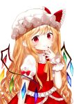1girl alternate_hair_length alternate_hairstyle arm_at_side arm_up blush eyebrows_visible_through_hair fang finger_to_chin fingernails flandre_scarlet hair_between_eyes hat hat_ribbon long_hair looking_at_viewer mob_cap nail_polish neck_ribbon pointy_ears puffy_short_sleeves puffy_sleeves red_eyes red_nails red_skirt red_vest ribbon sakipsakip sharp_fingernails shirt short_sleeves simple_background skin_fang skirt smile solo standing touhou twitter_username upper_body very_long_hair vest wavy_hair white_background white_headwear white_shirt wings wrist_cuffs yellow_neckwear