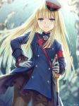 >:) 1girl artist_name bangs blonde_hair blue_coat blurry blurry_background blush brown_legwear closed_mouth commentary_request depth_of_field eyebrows_visible_through_hair fate/grand_order fate_(series) gloves green_eyes hagino_kouta hand_on_hip hat highres holding holding_sword holding_weapon long_hair long_sleeves lord_el-melloi_ii_case_files pantyhose peaked_cap reines_el-melloi_archisorte saber_(weapon) signature smile solo sword tilted_headwear v-shaped_eyebrows very_long_hair weapon white_gloves white_headwear