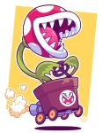 1other driving emblem exhaust exhaust_pipe mario_(series) mario_kart nintendo nintendo_ead no_humans piranha_plant plant sharp_teeth solo steering_wheel teeth