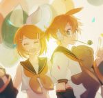 1boy 1girl :d ^_^ backlighting balloon blonde_hair blowing blue_eyes blush chi_ya closed_eyes confetti detached_sleeves hair_ornament hair_ribbon hairclip happy headset highres kagamine_len kagamine_rin light_particles locked_arms looking_at_another looking_back midriff necktie open_mouth party_horn puffy_short_sleeves puffy_sleeves ribbon sailor_collar shirt short_hair short_sleeves smile stuffed_animal stuffed_toy teddy_bear teeth toy upper_body upper_teeth vocaloid white_ribbon white_shirt yellow_neckwear yellow_ribbon