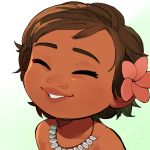 1girl ^_^ arms_at_sides baby bangs brown_hair clenched_teeth close-up closed_eyes dark_skin disney eyelashes face flower gradient gradient_background grey_background hair_flower hair_ornament jewelry moana_(movie) moana_waialiki necklace pano_(mohayayamai) parted_lips pink_flower shirtless short_hair simple_background solo teeth thick_eyebrows very_short_hair white_background younger