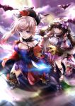 2girls absurdres asymmetrical_hair autumn_leaves bat black_legwear blue_eyes blue_kimono breasts brown_hair cloak closed_mouth commentary_request detached_sleeves drawing_tablet dual_wielding earrings eyebrows_visible_through_hair fate/grand_order fate_(series) full_moon gradient_hair hair_ornament hairband hane_yuki highres holding holding_sword holding_weapon hood hood_down huge_filesize japanese_clothes jewelry katana kimono large_breasts leaf_print long_hair low_twintails magatama maple_leaf_print miyamoto_musashi_(fate/grand_order) moon multicolored_hair multiple_girls navel_cutout obi open_mouth origami osakabe-hime_(fate/grand_order) outdoors pink_hair ponytail purple_skirt sandals sash sheath short_kimono skirt sleeveless sleeveless_kimono sword thigh-highs twintails unsheathed very_long_hair violet_eyes weapon wide_sleeves