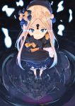 1girl abigail_williams_(fate/grand_order) bangs black_bow black_dress black_footwear black_headwear blonde_hair bloomers blue_eyes bow bug butterfly closed_mouth commentary_request different_reflection dress fate/grand_order fate_(series) hair_bow hat highres insect keyhole long_hair long_sleeves object_hug orange_bow parted_bangs polka_dot polka_dot_bow reflection ripples shoes sleeves_past_fingers sleeves_past_wrists solo standing stuffed_animal stuffed_toy tapioka_(oekakitapioka) teddy_bear tentacles underwear very_long_hair white_bloomers