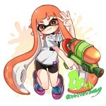 1girl anniversary bike_shorts closed_mouth domino_mask full_body hand_up holding inkling long_hair looking_at_viewer maco_spl mask orange_eyes orange_hair paint_splatter pink_footwear pointy_ears shirt shoes short_sleeves single_vertical_stripe smile sneakers solo splatoon_(series) splattershot_(splatoon) suction_cups super_soaker t-shirt tentacle_hair very_long_hair white_shirt