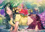 1girl all_fours bangs black_hair blush branch breasts commentary commentary_request cowboy_shot floral_print flower flower_request from_side groin hibiscus in_water large_breasts leaf long_hair looking_at_viewer ogino_atsuki original outdoors parted_bangs parted_lips pink_flower plant purple_flower red_flower sarong shirt short_sleeves solo thighs tied_shirt very_long_hair water wet wet_clothes yellow_eyes yellow_flower yellow_shirt