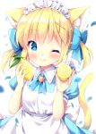 1girl ;q animal_ear_fluff animal_ears apron blonde_hair blue_bow blue_dress blue_eyes blush bow cat_ears cat_girl cat_tail closed_mouth collared_dress commentary_request dress food fruit hair_bow hair_ornament holding holding_food irori lemon maid maid_apron maid_headdress one_eye_closed original puffy_short_sleeves puffy_sleeves short_sleeves simple_background smile solo tail tail_raised tongue tongue_out twintails white_apron white_background x_hair_ornament
