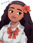 1girl arms_at_sides black_hair brown_eyes buttons character_name contemporary curly_hair dark_skin disney dress_shirt eyelashes flower hair_flower hair_ornament head_tilt hibiscus long_hair looking_away moana_(movie) moana_waialiki neck_ribbon pano_(mohayayamai) partially_unbuttoned red_flower red_ribbon ribbon school_uniform shirt short_sleeves simple_background smile solo text_focus thick_eyebrows unbuttoned upper_body white_background white_shirt