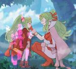 2girls adult aura boots breasts cape chiki child cloak closed_eyes commentary_request crying crying_with_eyes_open dragon_girl dress dual_persona fire_emblem fire_emblem:_kakusei fire_emblem:_monshou_no_nazo fire_emblem_heroes fire_emblem_musou forest gloves green_hair hair_between_eyes hair_ornament hair_ribbon hand_on_another's_face holding hood hood_down hooded_cloak intelligent_systems jewelry large_breasts long_hair looking_at_another mamkute multiple_girls nature nintendo older open_mouth parted_lips pink_cape pointy_ears ponytail red_cloak red_footwear red_gloves red_ribbon redhead ribbon sasaki_(dkenpisss) short_dress smile stone super_smash_bros. tears teenage tiara time_paradox younger