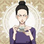 1girl black_hair cheekbones closed_eyes cup hair_bun lilia_baranovskaya saucer teacup twitter_username upper_body yamano_uzura yuri!!!_on_ice