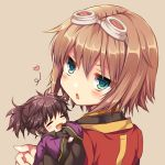 1boy 1girl annoyed ayamisiro black_hair blush brown_background brown_hair chibi closed_eyes goggles goggles_on_head green_eyes happy heart looking_at_viewer messy_hair no_nose open_mouth ponytail purple_coat raven_(tales) rita_mordio short_hair simple_background tales_of_(series) tales_of_vesperia upper_body