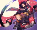2girls abigail_williams_(fate/grand_order) bangs black_bow black_dress black_footwear black_headwear blonde_hair blue_eyes blush bow bug butterfly calligraphy_brush commentary_request dress eyebrows_visible_through_hair fate/grand_order fate_(series) fixro2n forehead hair_bow hat highres holding holding_paintbrush insect japanese_clothes katsushika_hokusai_(fate/grand_order) kimono long_hair long_sleeves multiple_girls open_mouth orange_bow oversized_object paintbrush parted_bangs parted_lips platform_footwear polka_dot polka_dot_bow purple_hair purple_kimono short_sleeves sleeves_past_fingers sleeves_past_wrists socks tasuki tears very_long_hair violet_eyes white_legwear wide_sleeves
