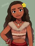 1girl arm_at_side bracelet breasts brown_eyes brown_hair character_name collarbone collared_shirt curly_hair dark_skin disney flower grey_background hair_flower hair_ornament hand_on_hip jewelry long_hair looking_at_viewer medium_breasts midriff moana_(movie) moana_waialiki necklace pano_(mohayayamai) shell shell_necklace shirt simple_background skirt sleeveless smile solo text_focus thick_eyebrows upper_body yellow_flower